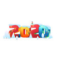 flat people decorate building a 2020 number vector image vector image