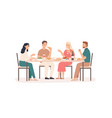 friends eating fun and smiling people at table vector image