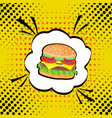 hand drawn pop art of hamburger fast vector image