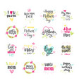 happy mothers day hand drawn lettering collection vector image vector image