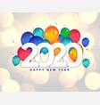 happy new year 2020 balloons celebration vector image