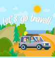 happy people going by car from city to nature vector image
