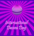 international dance day purple mirror ball vector image vector image