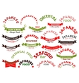 Japanese seafood restaurant ribbons set vector image vector image