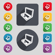 Laptop icon sign A set of 12 colored buttons and a vector image vector image