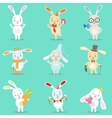 Little Girly Cute White Bunny Cartoon Character vector image