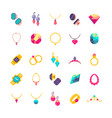 luxury jewelry flat icons vector image vector image