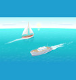 modern yachts marine nautical personal ship icon vector image vector image