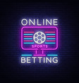 online betting neon sign sports betting online vector image vector image