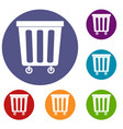 outdoor plastic trash can icons set vector image vector image