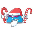 santa with candy pencil case character cartoon vector image vector image