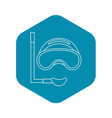 scuba mask and snorkel icon outline style vector image