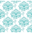 Seamless persian outline blue flowers pattern vector image