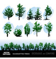 set of silhouettes of trees vector image vector image