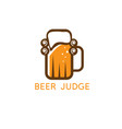 simple with beer mug and wig judge vector image
