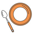 spoon and dish cutlery isolated icon vector image vector image