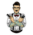stylish mustached barber in glasses