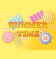 summer time banner beach top view beach umbrella vector image vector image