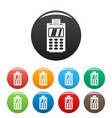 terminal for cashless payment icons set color vector image