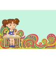 Tracery pattern girl school Ethnic colorful vector image vector image