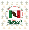 viva mexico invitation flag map party vector image