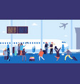 winter travel passengers wait flight meet and vector image vector image