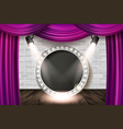 wooden stage with violet curtain vector image vector image