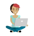 Young Woman Using Her Laptop vector image vector image