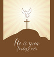 easter banner with cross and glowing dove vector image