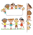 kids peeping behind placard vector image