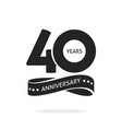 40 years anniversary logo template isolated black vector image vector image