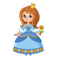 a beautiful princess with a crown and a flower in vector image