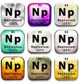 A button showing the element Neptunium vector image