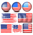 American flag in different designs vector image vector image