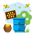 apiary flat style colorful cartoon vector image vector image