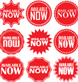Available now signs set available now sticker set vector image vector image