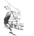black and white fantasy landscape house and vector image vector image