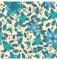 Blue seamless pattern of shrub with flowers and vector image