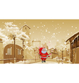 cartoon Santa Claus with gift bag walks vector image vector image