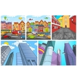 cartoon set of city backgrounds vector image
