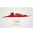 Chiba skyline in red vector image vector image