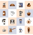 Coffee icons flat line set vector image vector image