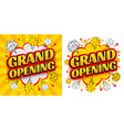 comic speech bubble with lettering grand opening vector image vector image