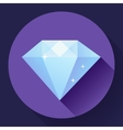 Diamond icon Flat design with long shadow vector image vector image