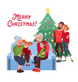 family christmas grandparents with grandchildren vector image vector image
