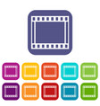 film with frames movie icons set vector image vector image