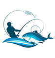 fisherman catches fish with a fishing rod vector image vector image