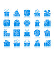 gift color silhouette icons set vector image