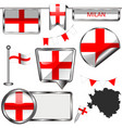 glossy icons with flag of milan vector image vector image