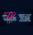 glowing neon sign of valentines day with heart vector image